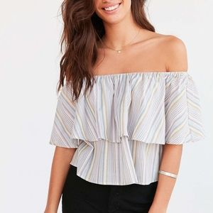 URBAN OUTFITTERS Raquel Stripe Off The Shoulder